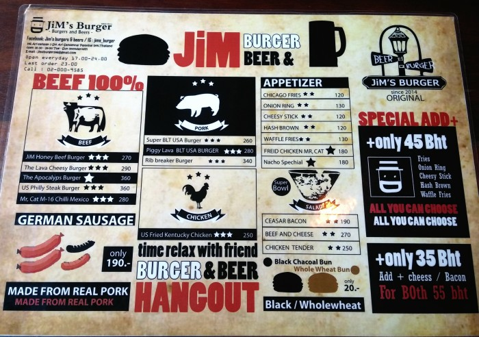 Jim's Burger and Beer Menu